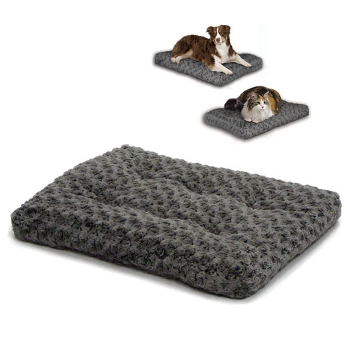 MIDWEST - Ombre' Swirl Fur Pet Bed - Grey - in diverse maten