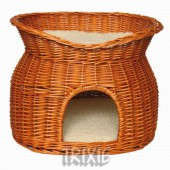 Wicker Cave with Bed on Top - 54x43x37 cm